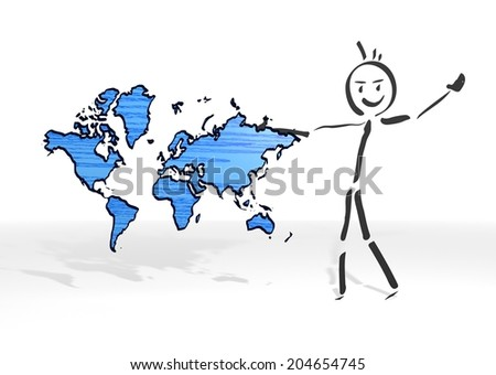 hand drawn stick man presents a international white background - stock photo