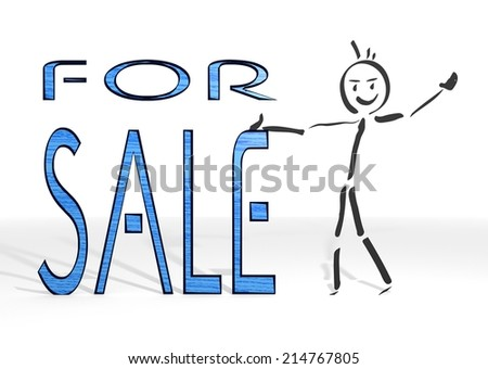 hand drawn stick man presents a symbol white background - stock photo