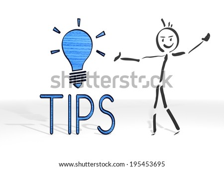hand drawn stick man presents a tip sign white background - stock photo