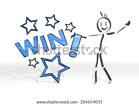 hand drawn stick man presents a win sign white background - stock photo