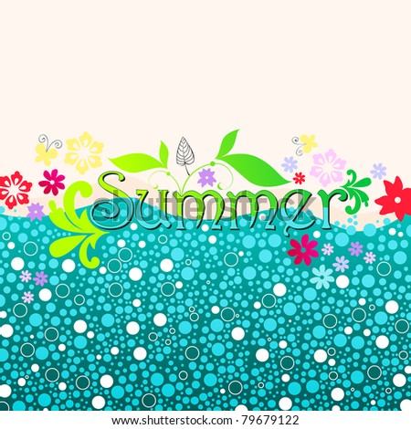 Hand drawn style cute summer illustration