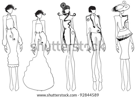 Hand drawn style illustration of beautiful lineart girls - stock photo