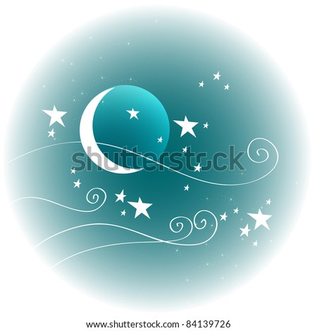 Hand drawn style illustration of cute winter night