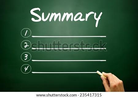 Hand drawn SUMMARY blank list, business concept on blackboard - stock photo