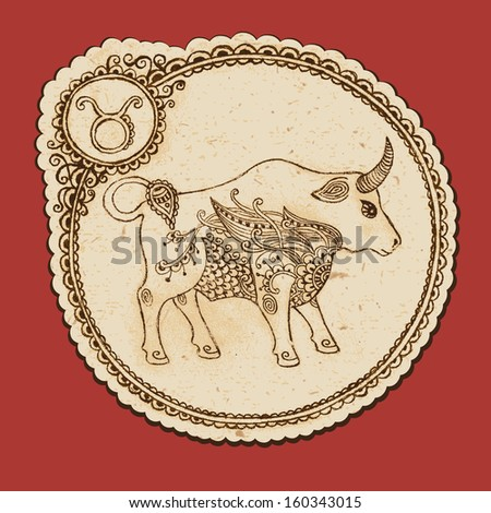 Hand drawn Taurus with elements of the ornament in ethnic style. Zodiac sign - Taurus. - stock photo