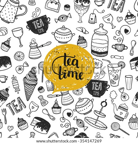 Hand drawn Tea time illustration, doodle background with teapot, glass, cupcake, decoration, tea, ice cream, cup and sweets - stock photo