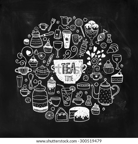 Hand drawn tea time illustration, doodle set with teapots, glass, cupcake, decoration, tea, ice cream, cup and sweets of a circle on chalkboard - stock photo
