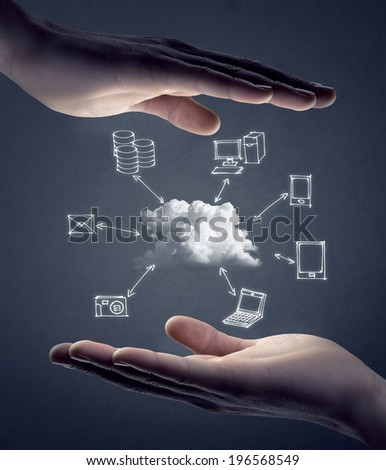 Hand drawn technology and computer icons around cloud with hands on gray background, cloud computing concept.