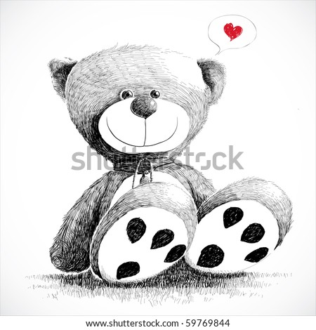 Hand drawn teddy bear isolated on white. - stock photo