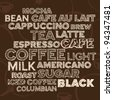Hand drawn text lettering of coffee and cafe terms - stock photo