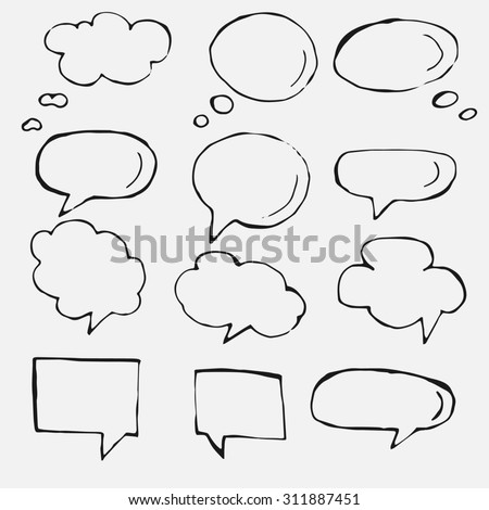 Hand drawn thought and speech bubbles and balloons. Blank empty white speech bubbles. Speech bubble icons. Think cloud symbols. Sketch hand drawn bubble speech.