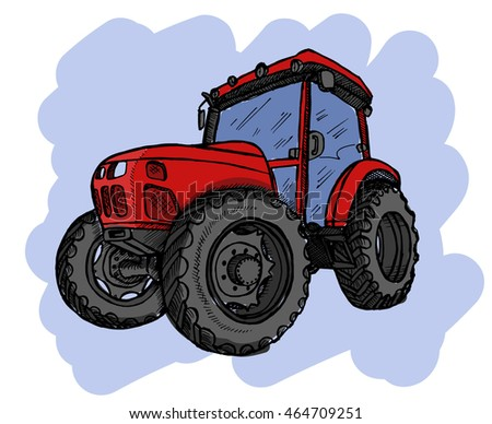 Hand drawn tractor on white background.  illustration.