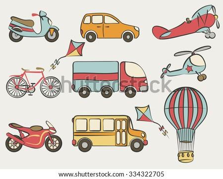 hand-drawn transportation icon set - illustration - stock photo