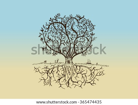 Hand drawn tree isolated sketch in vintage style. illustration - Raster Copy - stock photo
