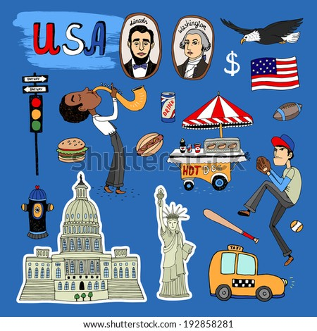 hand-drawn USA Landmarks - the White House  baseball player  hot dog stand  saxophone player  traffic lights  Washington  Lincoln  flag  dollar  eagle  yellow NY taxi cab and Statue of Liberty - stock photo