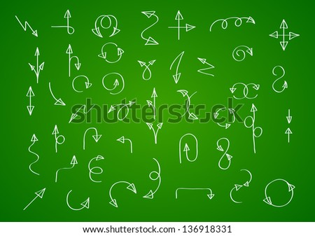 Hand drawn vector arrow collection on green background