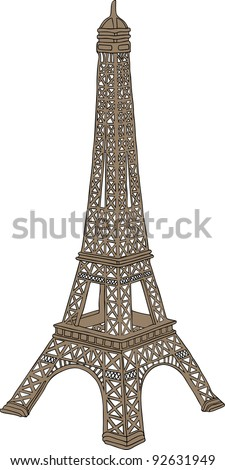 Hand drawn vector illustration of Eiffel tower in Paris, France - stock photo