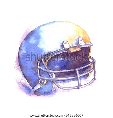 Hand-drawn watercolor American football illustration. The football helmet isolated on the white background - stock photo