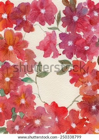 Hand drawn watercolor background frame of red flowers - stock photo