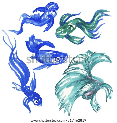 Hand drawn watercolor blue fishes. Illustration