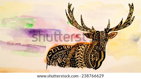 Hand drawn watercolor deer with northern lights  - stock photo