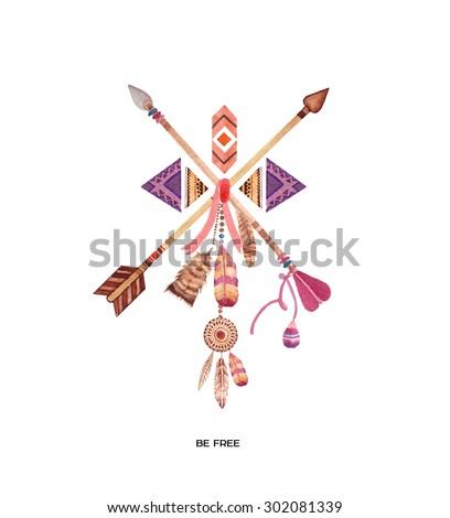 Hand drawn watercolor ethnic illustration. - stock photo
