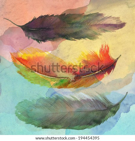Hand drawn watercolor feather. Original watercolor painting.