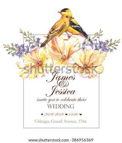 Hand-drawn watercolor floral wedding invitation. Tender and beautiful card template with yellow tulips flowers and yellow finches. Couple of the birds in the decorative bouquet. - stock photo