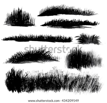 Hand drawn watercolor grass set isolated on white background. Sketch grass. Grass in the sun. Burnt grass. Watercolor grass pattern. Abstract grass. Spring fresh grass kit. - stock photo