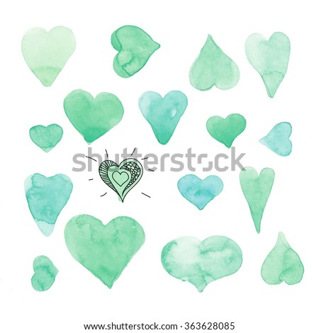 Hand drawn watercolor green hearts on a white background. Valentine's day background - stock photo