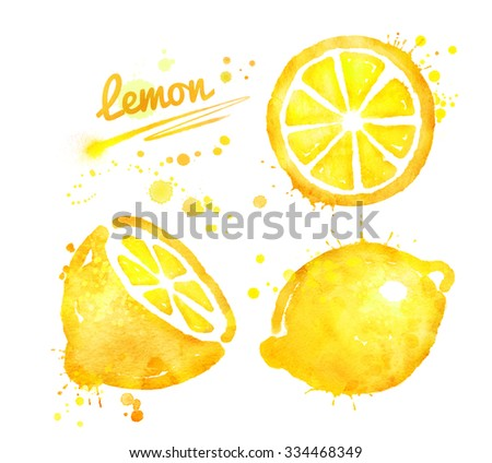 Hand drawn watercolor half, whole and slice of lemon with paint splashes. - stock photo