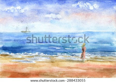 Hand drawn watercolor illustration of a beautiful girl watching a boat in the distance. Freehand sea landscape.  - stock photo