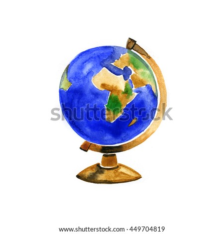 Hand drawn watercolor illustration of globe on white background