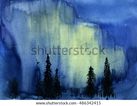 Hand drawn watercolor illustration of night nature view with northern lights