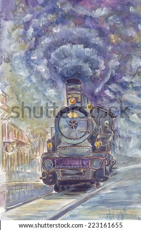 Hand drawn watercolor illustration of old  train in sketch style - stock photo