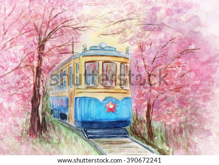Hand drawn watercolor illustration of old tram - stock photo