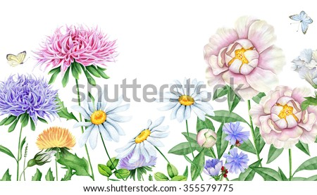Hand drawn watercolor image of beautiful flowers - stock photo