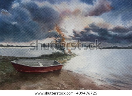 Hand drawn watercolor landscape with clouds and boat - stock photo