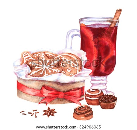 Hand-drawn watercolor New Year illustration with ginger cookies in the box and mulled wine isolated on the white background. Holiday illustration for greeting card - stock photo