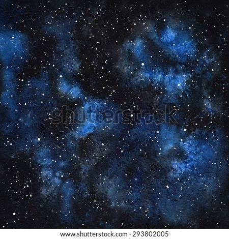 Hand drawn watercolor night sky with stars. Cosmic background. Splash texture. Black and blue stains. Raster version. - stock photo