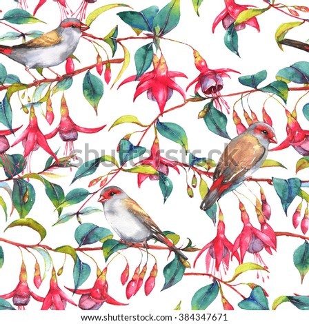 Hand-drawn watercolor seamless floral pattern with colorful pink fuchsia branches and finches birds. Tropical exotic flowers blossom on the white background. Repeated print for the textile, wallpapers - stock photo