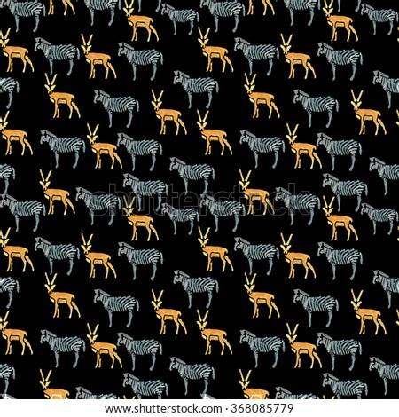 Hand drawn watercolor seamless pattern.African animals. Zebra, antelope. - stock photo