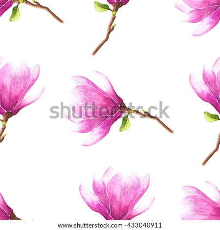 Hand drawn watercolor seamless pattern illustration of magnolia or tulip tree pink flowers over white background. - stock photo