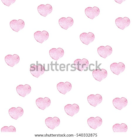 Hand drawn watercolor seamless pattern with hearts on white background. element for greeting and invitation card, wrapping paper, wallpaper, etc.