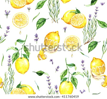 Hand-drawn watercolor seamless pattern with yellow lemons and lavender flowers. Repeated  natural background with lemon fruits and Provence lavender flowers. Print for the textile, wallpaper etc. - stock photo