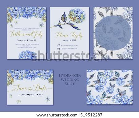 handdrawn watercolor set hydrangea wedding invitation stock