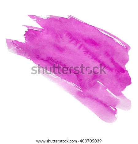 Hand drawn watercolor stain. A watercolour spot. Juicy and bright magenta color. It is possible to use for wrap, wallpaper, website, decor. Isolated on white background. - stock photo