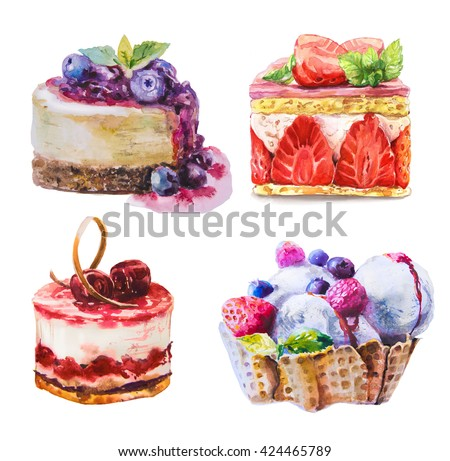Hand drawn watercolor sweet cupcake with berry - stock photo