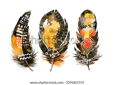 Hand drawn watercolor vibrant feather set.  Boho style. illustration isolated on white. Bird fly design for T-shirt, invitation, wedding card.Rustic Bright colors.  - stock photo