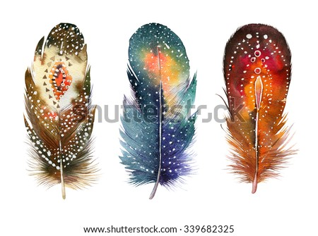 Hand drawn watercolor vibrant feather set.  Boho style. illustration isolated on white. Bird fly design for T-shirt, invitation, wedding card.Rustic feathers Bright colors.  - stock photo